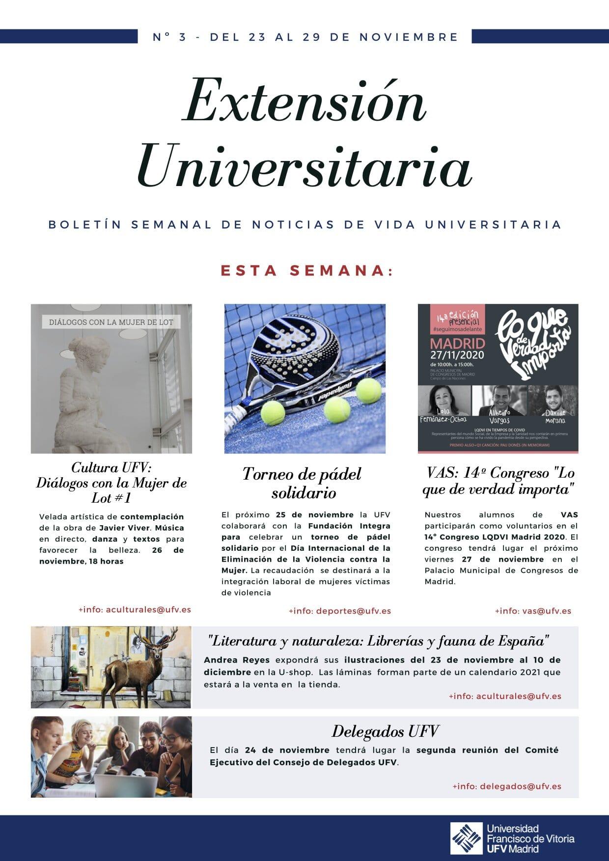 3 newsletter act culturales Extensión Universitaria Estudiar en Universidad Privada Madrid