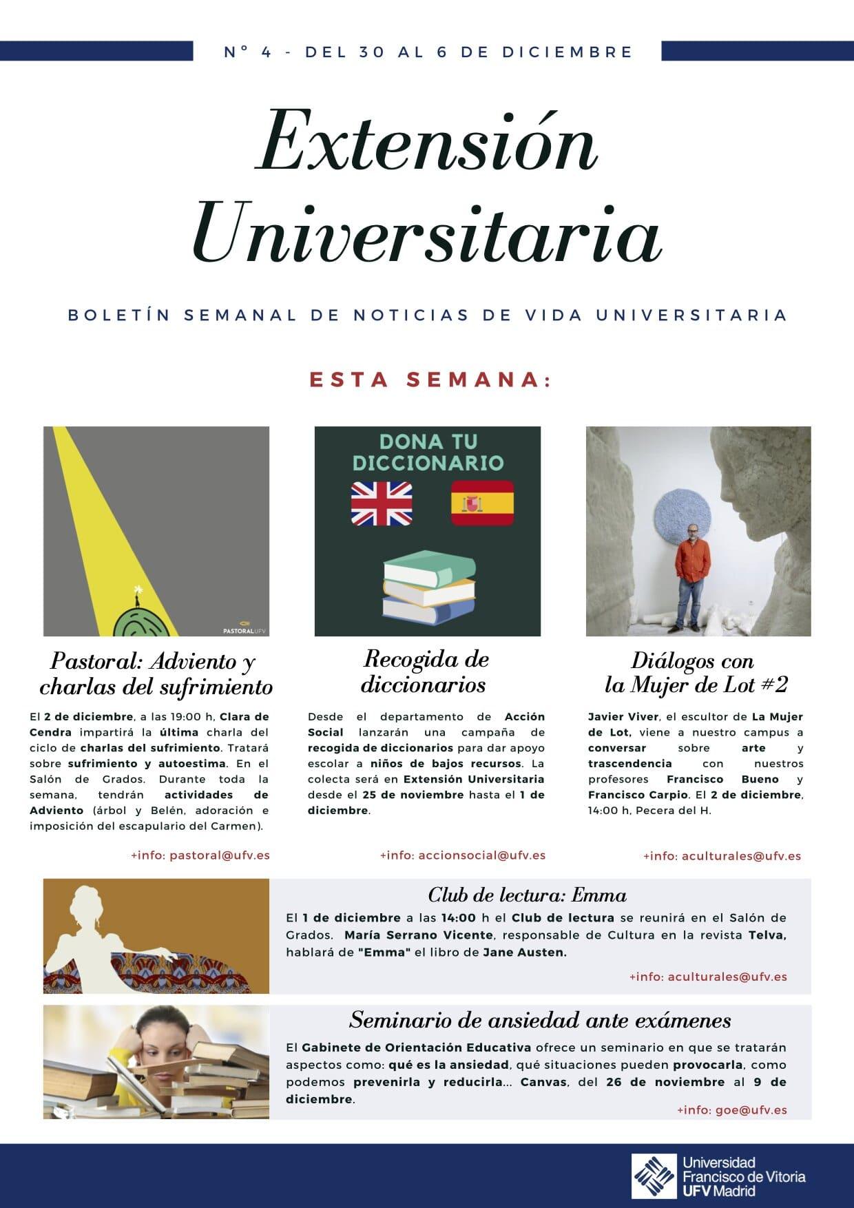 4 newsletter act culturales Extensión Universitaria Estudiar en Universidad Privada Madrid
