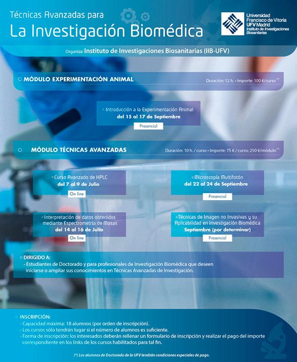 Cartel Ciclo de Cursos IIB Instituto de Investigaciones Biosanitarias Estudiar en Universidad Privada Madrid