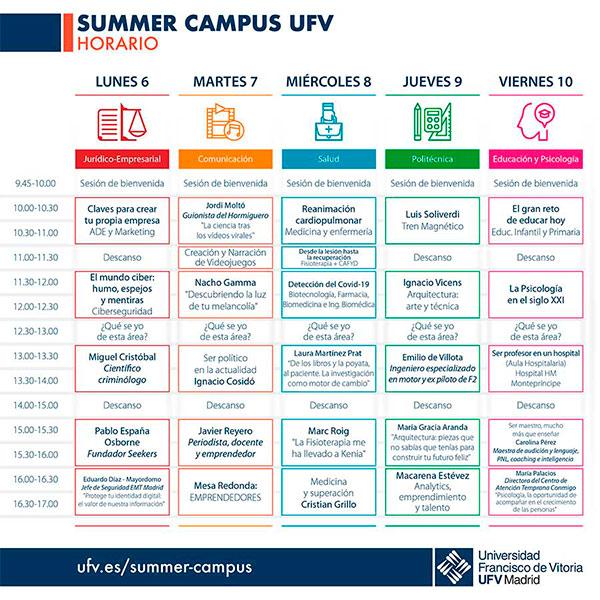 calendario summer campus web imagen 2019 Summer Campus Estudiar en Universidad Privada Madrid