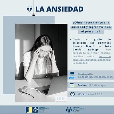 charla ansiedad mayo miniatura Uno más uno Estudiar en Universidad Privada Madrid