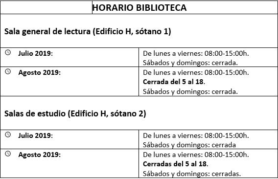 horarios verano bibliotecta Biblioteca