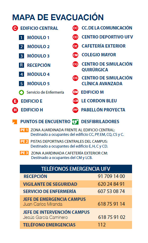 mapa evacuacion gerencia En el mantenimiento de los espacios Estudiar en Universidad Privada Madrid