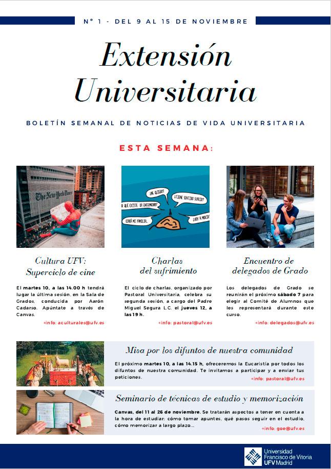 newsletter actividades culturales 01 Extensión Universitaria Estudiar en Universidad Privada Madrid