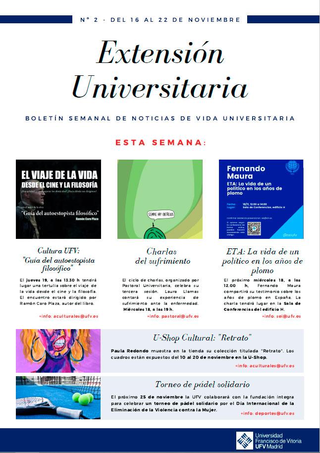 newsletter actividades culturales 02 Extensión Universitaria Estudiar en Universidad Privada Madrid