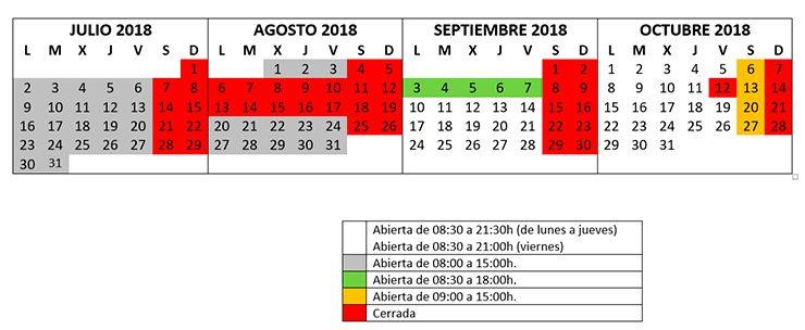 HORARIO SALA LECTURA julio2018 octubre2018 740x304 Biblioteca