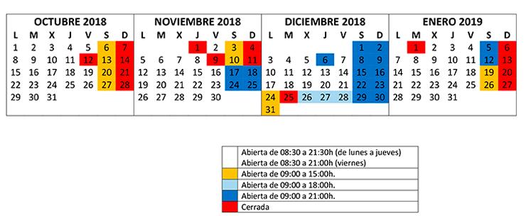 HORARIO SALA LECTURA octubre2018 enero2019 740x304 Biblioteca