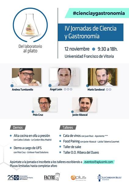 programa cienciaygastro 18 IV Jornadas de Ciencia y Gastronomía en la UFV. Ciencia y Gastronomía: del laboratorio al plato
