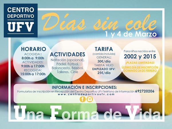 1700a7e2 df7d 4d66 b18a c0a2c18ca1b7 El 1 y 4 de marzo el Centro Deportivo de la UFV organiza los Días sin cole