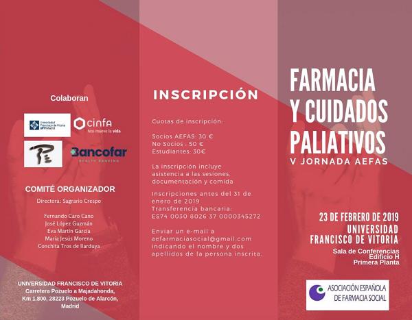 """Captura de pantalla 2019 01 25 a las 21.59.09 V Jornada de AEFAS – """"Farmacia y cuidados paliativos"""" Estudiar en Universidad Privada Madrid"""
