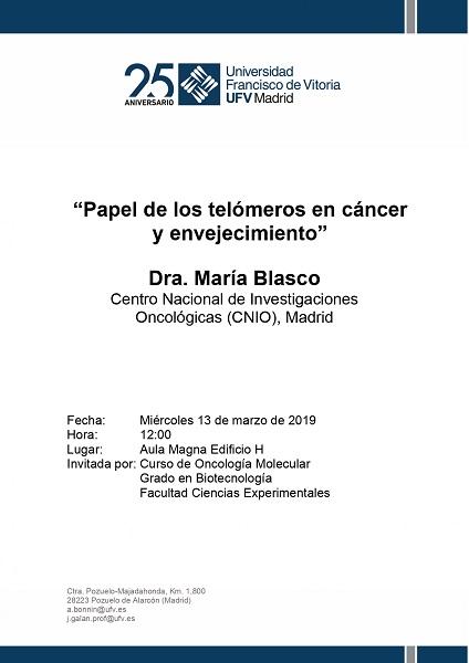 Charla María Blasco 13 marzo pages to jpg 0001 La Dr.María Blasco, directora del CNIO, impartirá la charla Papel de los telómeros en cáncer y envejecimiento
