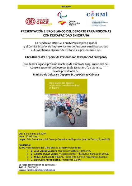 Invitacion Libro Blanco Presentación del libro Blanco del deporte de personas con discapacidad en España