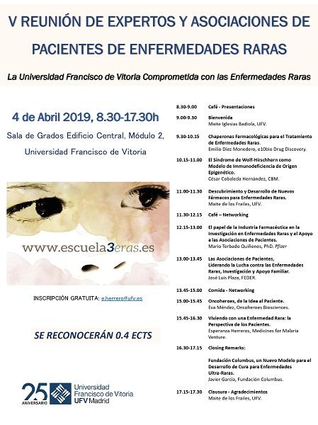 V Reunión Enf Raras  2019 poster page 0001 V Reunión de Expertos y Asociaciones de Pacientes de Enfermedades Raras Estudiar en Universidad Privada Madrid