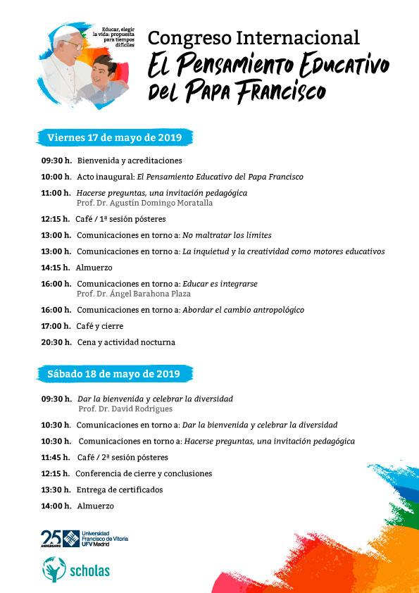 programa web congreso papa francisco Congreso sobre el pensamiento educativo del Papa Francisco