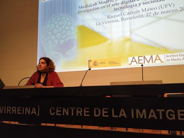 IMG 20190327 WA0028 La profesora Raquel Caerols imparte una conferencia en el marco de la Jornada AEMA(Archivos de Media Art Español)