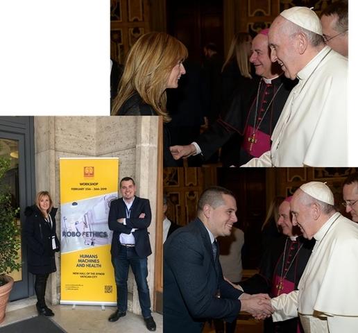 sofia borgia2 Sofía Borgia y Jesús Miguel Santos saludan al papa Francisco durante el Congreso 'Robo Ethics. Humans, Machines & Health'