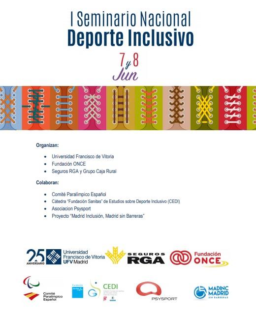 cartel inclusivo I Seminario Nacional Deporte Inclusivo CAFyD UFV Estudiar en Universidad Privada Madrid