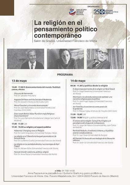 cartel final Congreso La religión en el pensamiento político contemporáneo