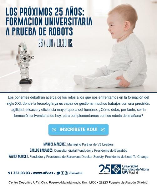 cartel mesa La Universidad Francisco de Vitoria cierra su 25 aniversario con una mesa redonda sobre el futuro de la Educación Superior
