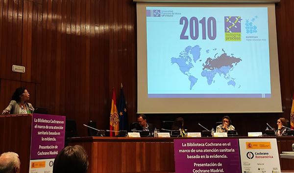 031019 3 Diana Monge, vicedecana de Investigación, Innovación y Educación Médica de la UFV, expone las actividades de Cochrane Madrid