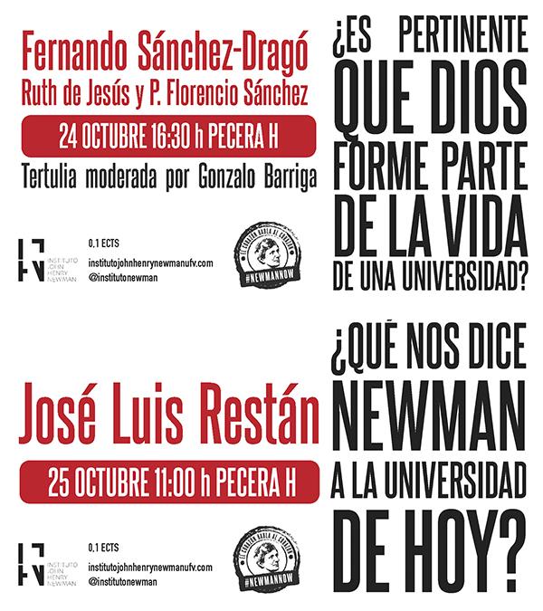 231019 2 Fernando Sánchez Dragó y José Luis Restán participan en sendos debates universitarios sobre el papel de Dios y Newman en la Universidad