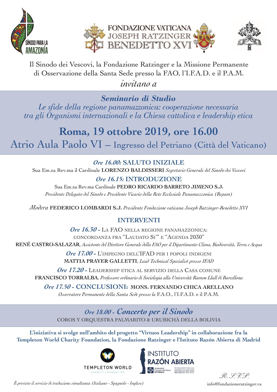 241019 22 Templeton World Charity Foundation, el Instituto Razón Abierta y la Fundación Vaticana Joseph Ratzinger comienzan un proyecto común en busca del liderazgo virtuoso Estudiar en Universidad Privada Madrid