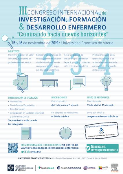CARTEL A2 esp La UFV acoge el III Congreso Internacional de investigación, formación y desarrollo enfermero los días 15 y 16 de noviembre Estudiar en Universidad Privada Madrid