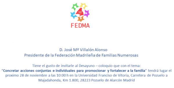 """Captura de pantalla 2019 11 08 a las 10.05.21 e1573208070658 La UFV acoge el coloquio """"Concretar acciones conjuntas e individuales para promocionar y fortalecer a la familia"""""""