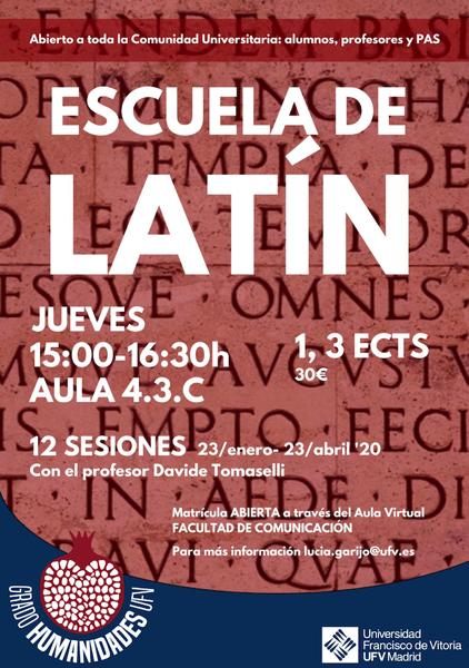 Captura de pantalla 2020 01 17 a las 9.52.44 La Escuela de Latín de la UFV  inicia su segundo curso