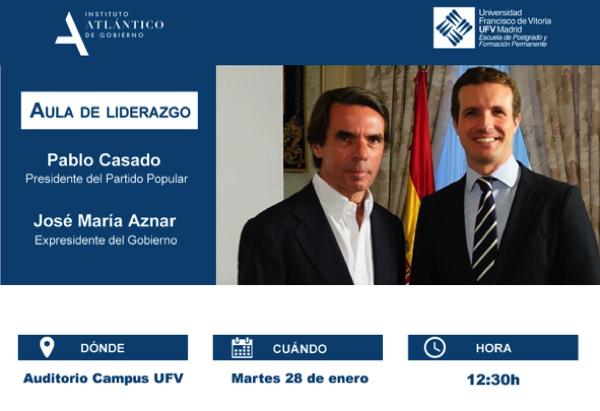 Captura de pantalla 2020 01 27 a las 9.54.35 Pablo Casado y Jose María Aznar conversarán mañana sobre España ante un cambio de régimen en la UFV Estudiar en Universidad Privada Madrid