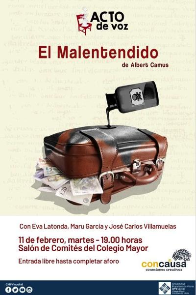 Captura de pantalla 2020 01 29 a las 16.45.53 1 El Colegio Mayor UFV organiza un acto de voz de El malentendido, un formato teatral en el que el público se convierte en director de escena Estudiar en Universidad Privada Madrid