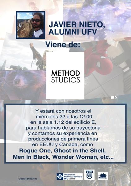 SAVE 20200120 151204 Javier Nieto, alumni UFV y parte de Method Studios, explica a los alumnos su trayectoria en la producción de efectos especiales al más alto nivel el próximo 22 de enero