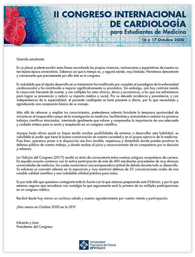 carta presidentes congreso cardiologia 1 II CONGRESO INTERNACIONAL DE CARDIOLOGÍA PARA ESTUDIANTES v3 Estudiar en Universidad Privada Madrid