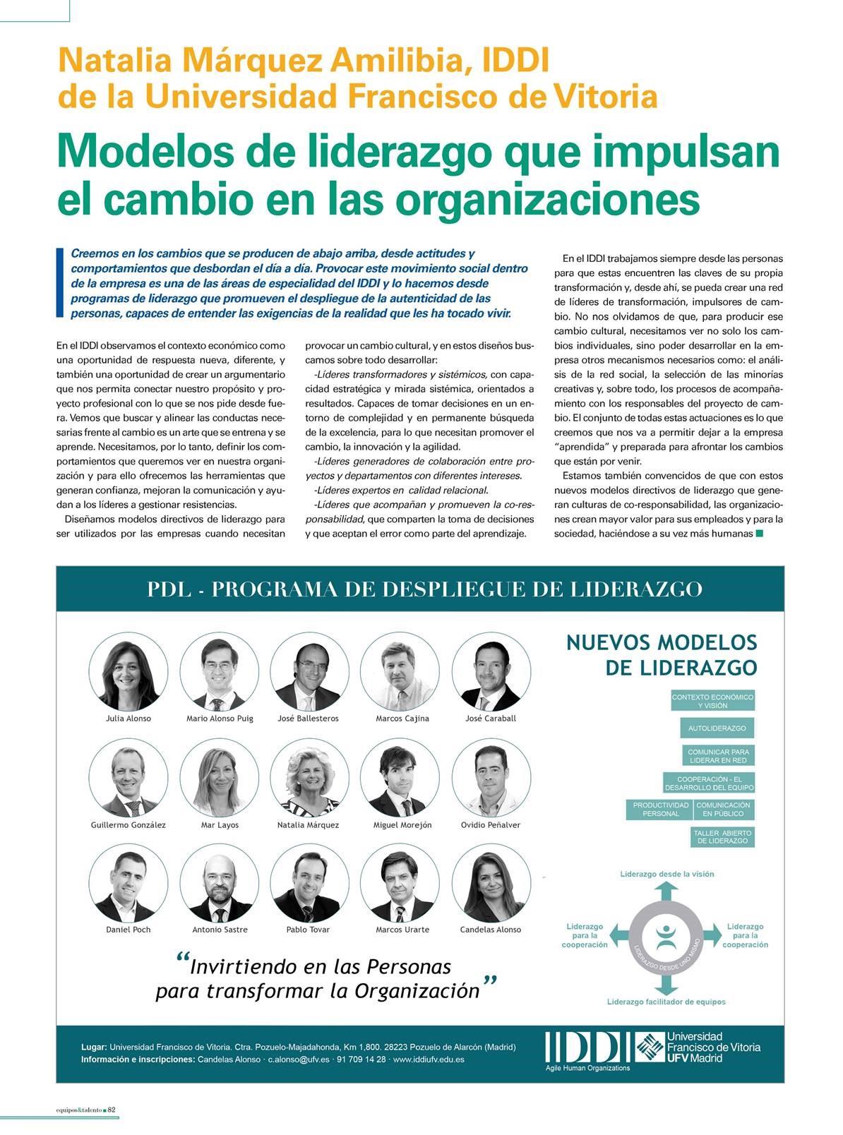 iddi 1 Natalia Márquez, del IDDI de la UFV, nos habla de una de las actuaciones en empresas en las que el IDDI es experto: los modelos directivos de liderazgo que impulsan el cambio