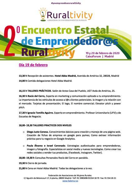 PROGRAMA ENCUENTRO 19 DE FEBRERO 2020 Ignacio Temiño, profesor UFV, participa en el 2º encuentro estatal de emprendedores Ruraltivity