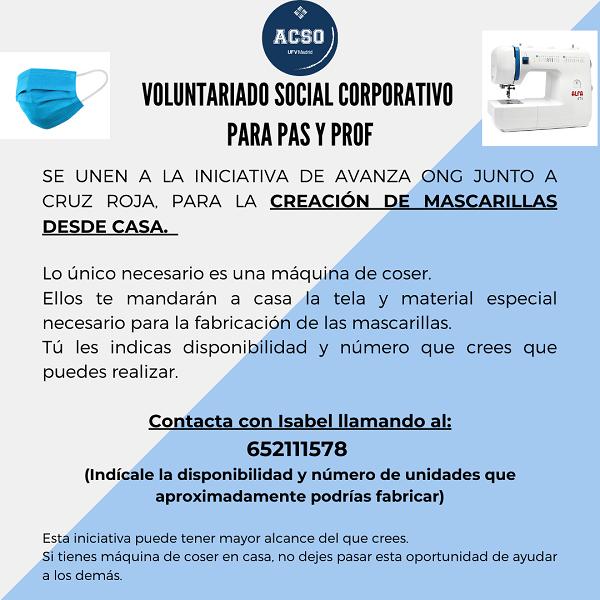 VOLUNTARIADO CORPORATIVO 1 La UFV se une a la iniciativa de Avanza ONG y Cruz Roja para fabricar mascarillas desde casa