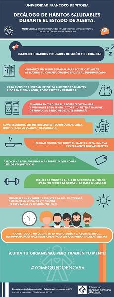 decalogo habitos saludables La doctora en Ciencias de la Alimentación, Marta Garcés, nos propone unas pautas alimentarias adecuadas en tiempos de confinamiento Estudiar en Universidad Privada Madrid
