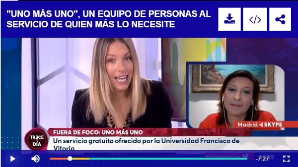 elena arderius La Universidad Francisco de Vitoria presenta el programa 'Uno más uno' para acompañar a todas las personas que lo necesiten en esta situación de pandemia