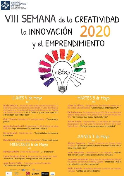 Cartel Semana Creatividad 2020 1 page 0001 1 2 CETYS UFV organiza la VIII Semana de la Creatividad, Innovación y Emprendimiento del cuatro al siete de mayo Estudiar en Universidad Privada Madrid