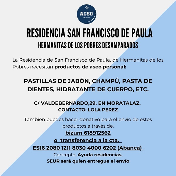 accion social ufv ayuda 1 Colabora donando productos de higiene personal para la Residencia San Francisco de Paula, de las Hermanitas de los Pobres Desamparados Estudiar en Universidad Privada Madrid