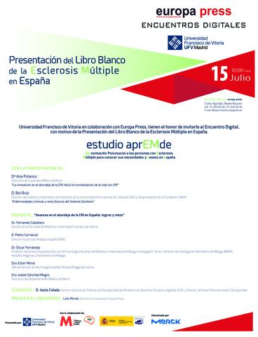Encuentro Digital 15 julio Estudio AprEMde Presentación del Libro Blanco de la Esclerosis Múltiple en España Estudiar en Universidad Privada Madrid