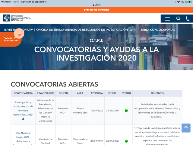 %name La OTRI presenta una Web repositorio de convocatorias y ayudas a la investigación Estudiar en Universidad Privada Madrid