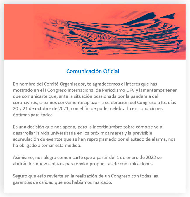 Comunicacion oficial congreso periodismo ufv Congreso Periodismo Estudiar en Universidad Privada Madrid
