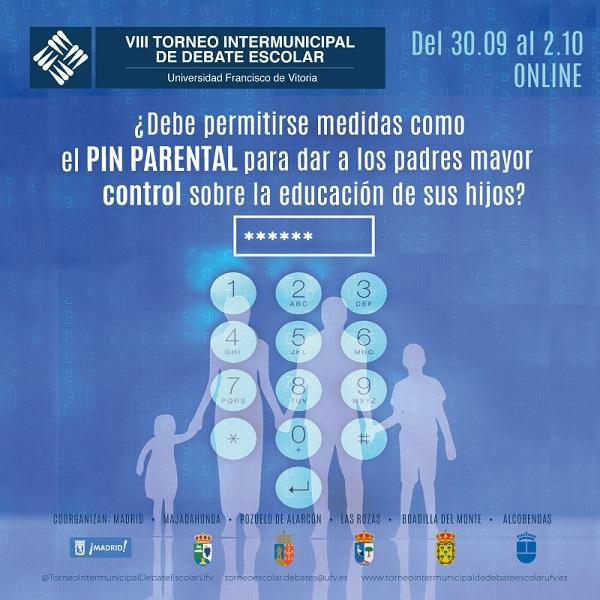 Cartel TIDEVIII Hoy se celebra la semifinal y final de la VIII edición del Torneo Intermunicipal de Debate Escolar de la Universidad Francisco de Vitoria de manera online Estudiar en Universidad Privada Madrid