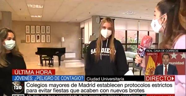 colegio mayor Dos alumnas del Colegio Mayor Francisco de Vitoria explican a Telemadrid los protocolos anti covid Estudiar en Universidad Privada Madrid