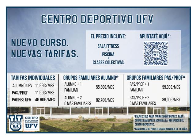tarifas cd20 Nuevas tarifas en el Centro Deportivo UFV Estudiar en Universidad Privada Madrid