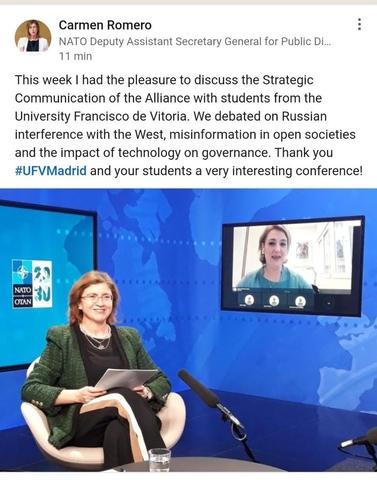 %name El Grado en Relaciones Internacionales organiza el Seminario StartCom, en el que participa Carmen Romero, responsable de la División de Public Relations de la OTAN Estudiar en Universidad Privada Madrid