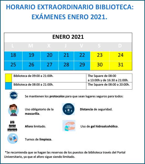 Horario extraordinario examenes UFV 2021 enero Biblioteca Estudiar en Universidad Privada Madrid