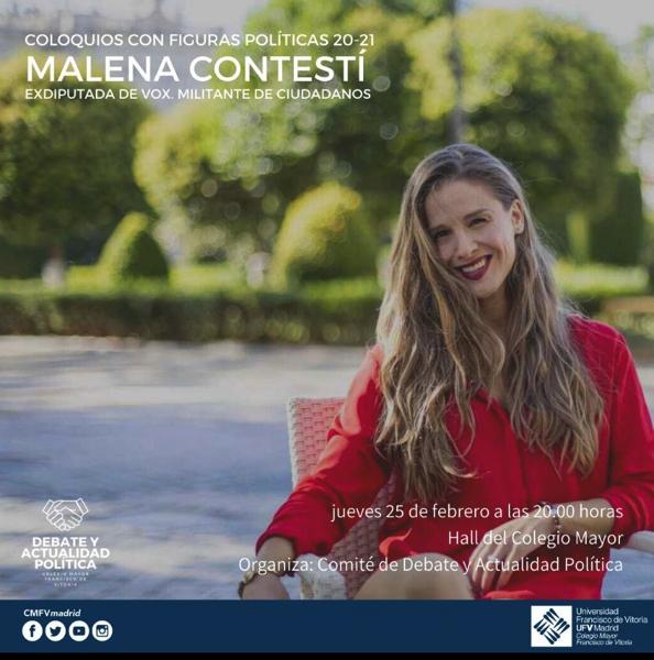 %name Malena Contestí, exdiputada de VOX y militante de Ciudadanos, visitará el Colegio Mayor el 25 de febrero Estudiar en Universidad Privada Madrid