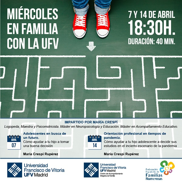 Jueves en Familia La UFV y la Federación Española de Familias Numerosas organizan los Miércoles en Familia con la UFV Estudiar en Universidad Privada Madrid